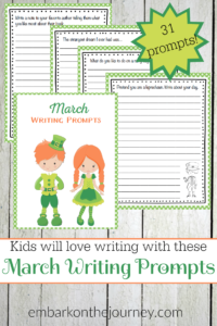 Keep kids writing all month long with March writing prompts - one for every day of the month! | embarkonthejourney.com