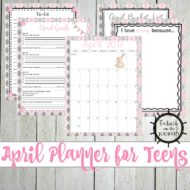 Goal Setting with a Personal Planner for Teens: April Edition