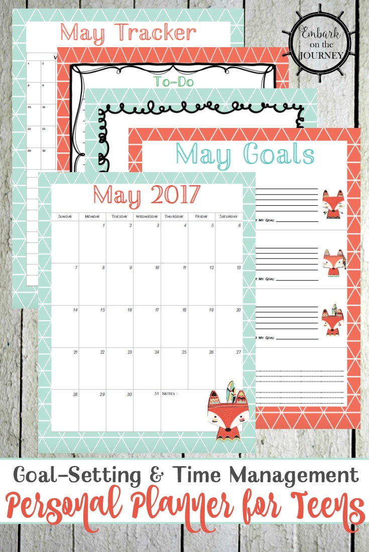 A brand new personal planner for teens designed to help them plan their month, work toward their goals, and track their progress all month long!