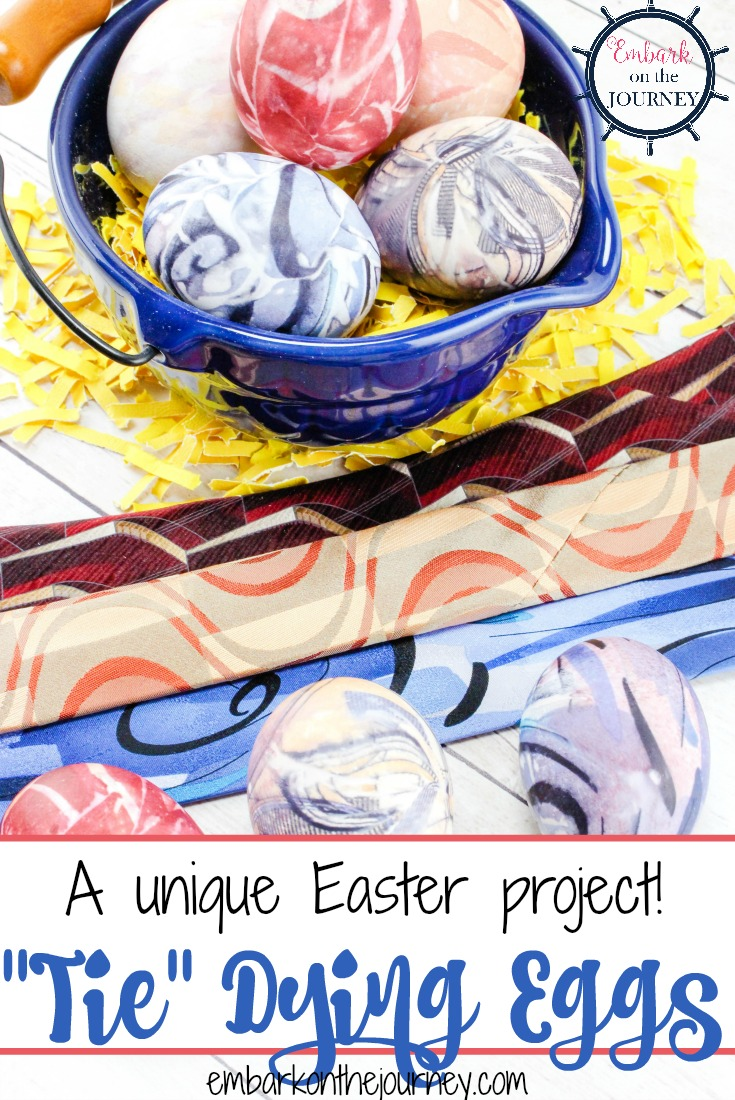 Here's a fun and unique idea for Easter! Come discover how to dye Easter eggs with old silk ties! | embarkonthejourney.com