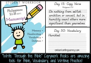Write Through the Bible Copywork Printables