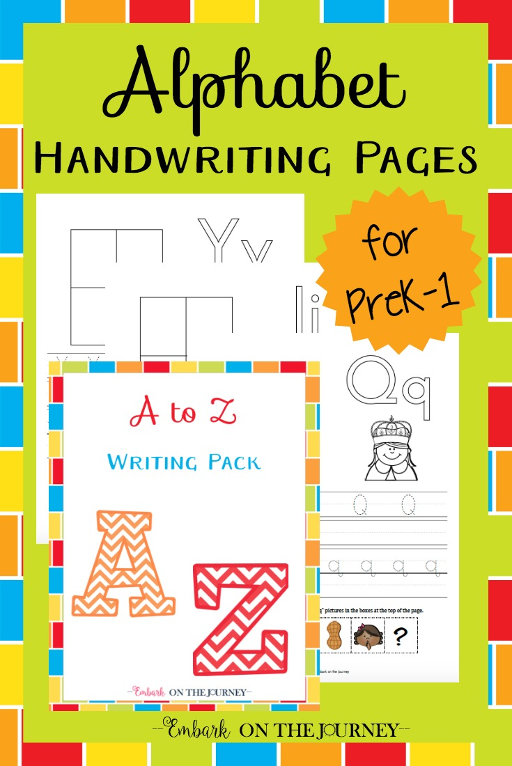 These alphabet pages combine handwriting practice and a fun cut/paste activity. These pages are perfect for beginning writers. | embarkonthejourney.com