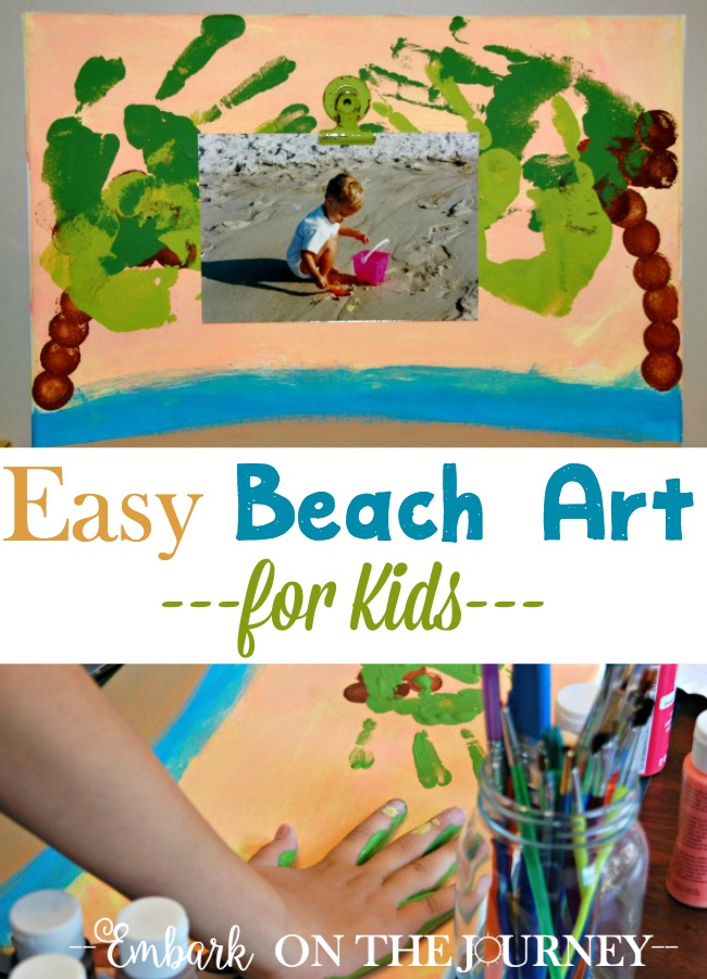 Easy Beach Art for Kids: This picture frame craft is easy enough for kids to make themselves. It is perfect for displaying a favorite beach photo.  | embarkonthejourney.com