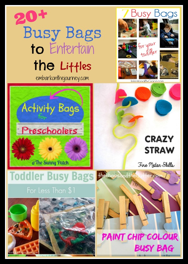 Need to entertain a little one at church or while you homeschool an older sibling? Try creating some busy bags to keep them entertained. | embarkonthejourney.com