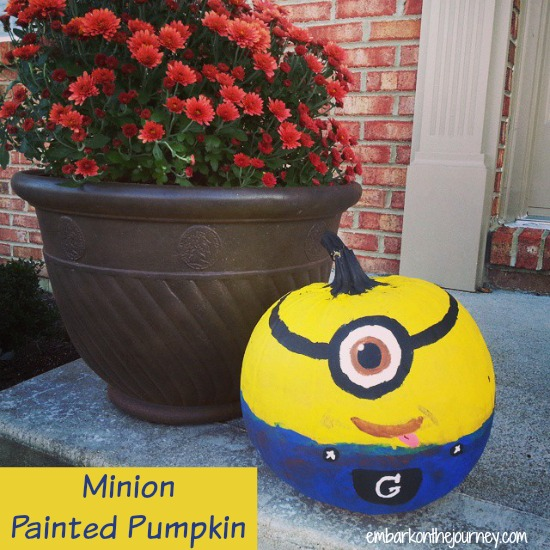 #Minion Painted Pumpkin | embarkonthejourney.com