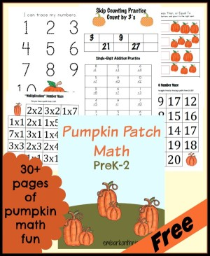 FREE Pumpkin Math Printable PreK-2
