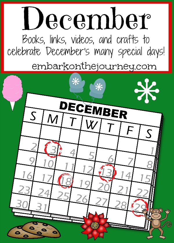 Celebrate more than Christmas in December. Check out this list of books, links, videos, crafts and more to celebrate all month long! | embarkonthejourney.com