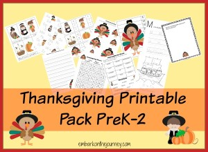#Thanksgiving #Printable Pack PreK-2 | embarkonthejourney.com