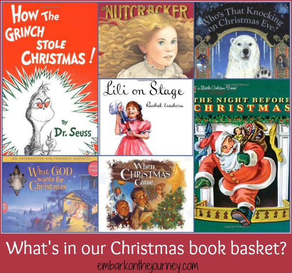 What's in our Christmas book basket? | embarkonthejourney.com
