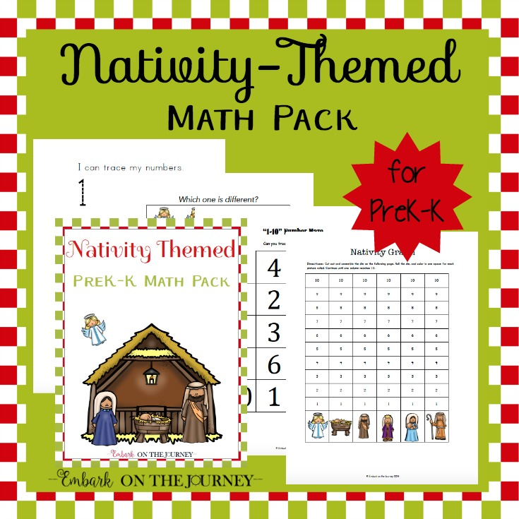 Nativity Printable Math Pack for Preschool and Kindergarten