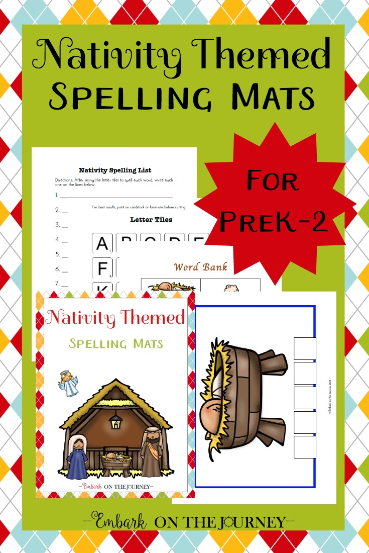 Young learners will practice letter recognition and spelling with these Nativity themed spelling mats. These will be a great addition to your holiday homeschool lesson plans. | embarkonthejourney.com