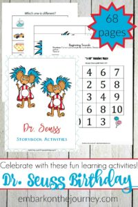 Dr. Seuss's birthday is March 2! Celebrate with a fun Seuss-themed printable and some incredibly fun activities that your preschoolers and young learners are sure to love!   @homeschljourney