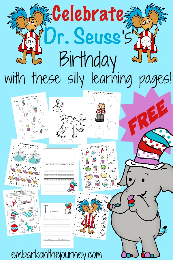 Celebrate Dr. Seuss's Birthday with these silly learning pages! There are over 65 pages in this printable pack geared for PreK-Grade 1! | embarkonthejourney.com