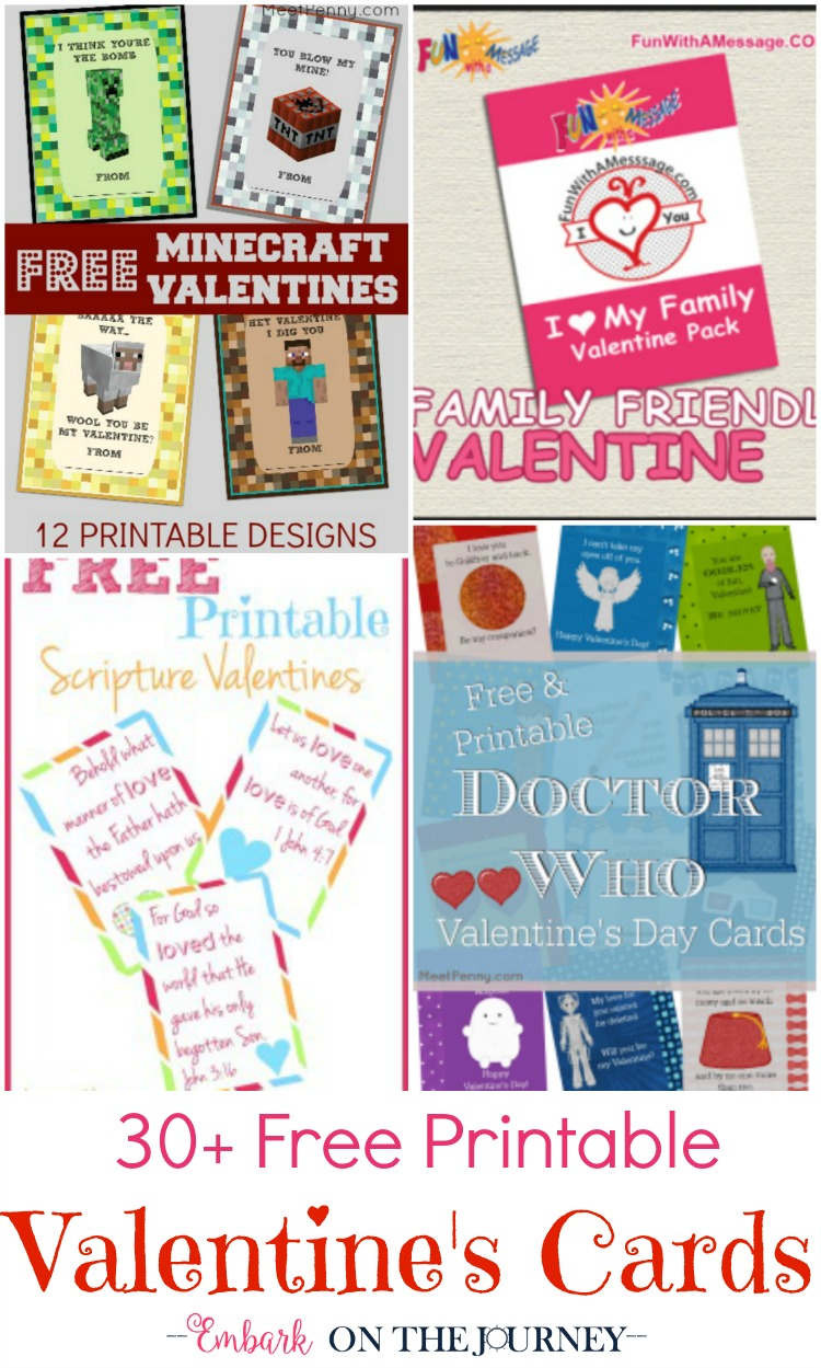 These free Valentine's Day cards are perfect for class parties and loved ones. There are over 30 choices of printable Valentines. | embarkonthejourney.com
