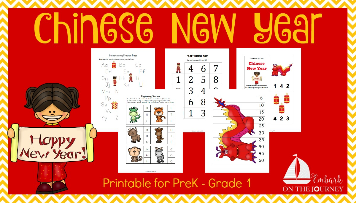 Celebrate Chinese New Year with this free 50+ page printable for preschool - Grade 1! | embarkonthejourney.com