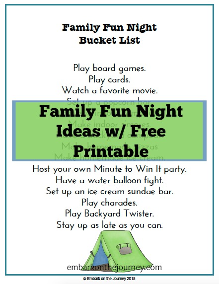 Download this free printable Family Fun Night Bucket List. What will you choose first? | embarkonthejourney.com