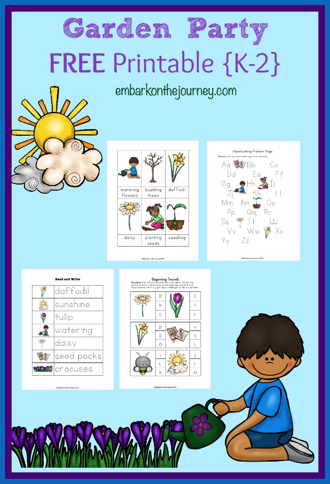 Free Garden Party Printables for Grades K-2 | embarkonthejourney.com