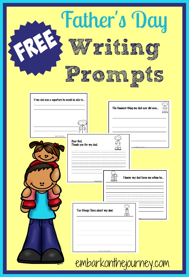 Kids will love these Father's Day Writing Prompts! They are perfect for showing Dad how much he means to them! | embarkonthejourney.com