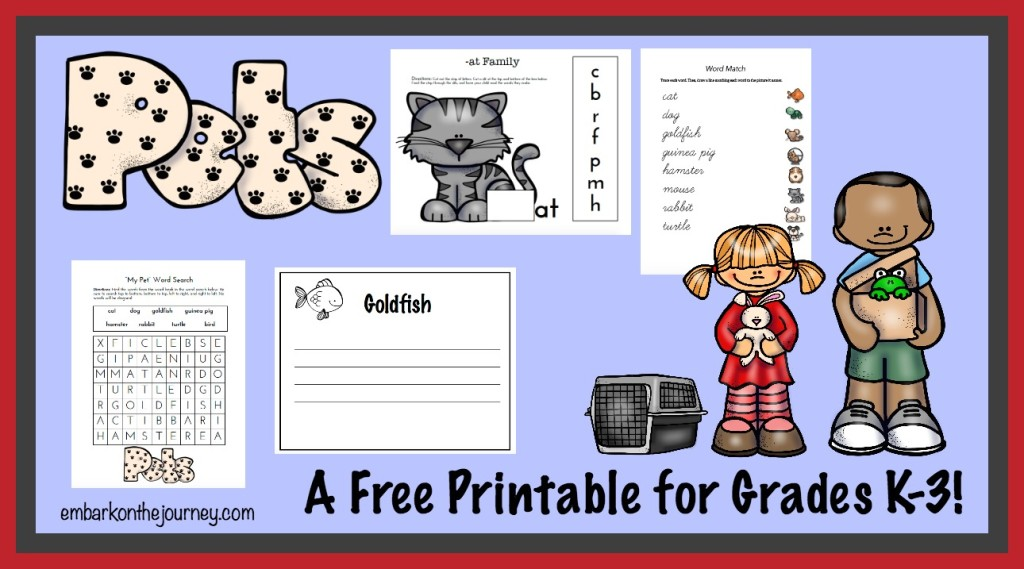 "There are 40+ activity pages in this brand new ""Pets"" printable for grades K-3! 