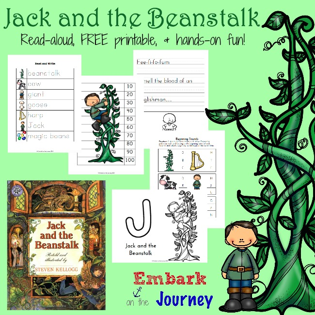 Jack and the Beanstalk: Read-aloud, FREE printable, and hands-on fun! | embarkonthejourney.com