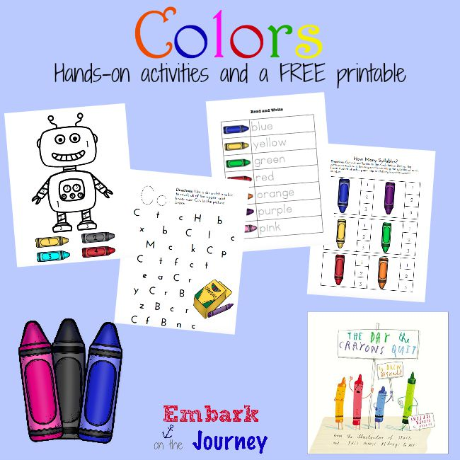Here's a fun collection of hands-on activities and a FREE printable for teaching PreK-K kiddos their colors! | embarkonthejourney.com