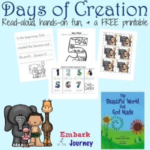 Here's a wonderful collection of hands-on activities and a FREE printable covering the Days of Creation. | embarkonthejourney.com