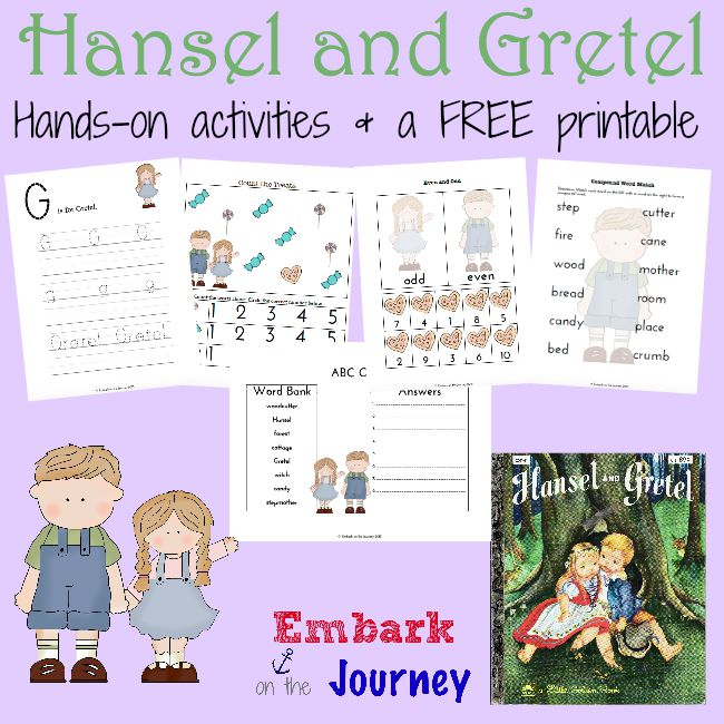 A collection of hands-on Hansel and Gretel activities and a FREE PreK-K printable. | embarkonthejourney.com