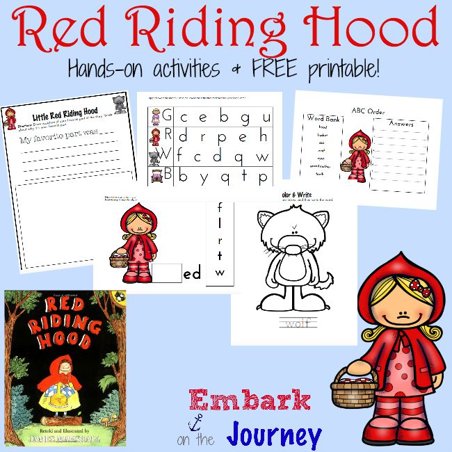 Here's a fun collection of Little Red Riding Hood hands-on activities and a fun new printable for the K-2 crowd! | embarkonthejourney.com