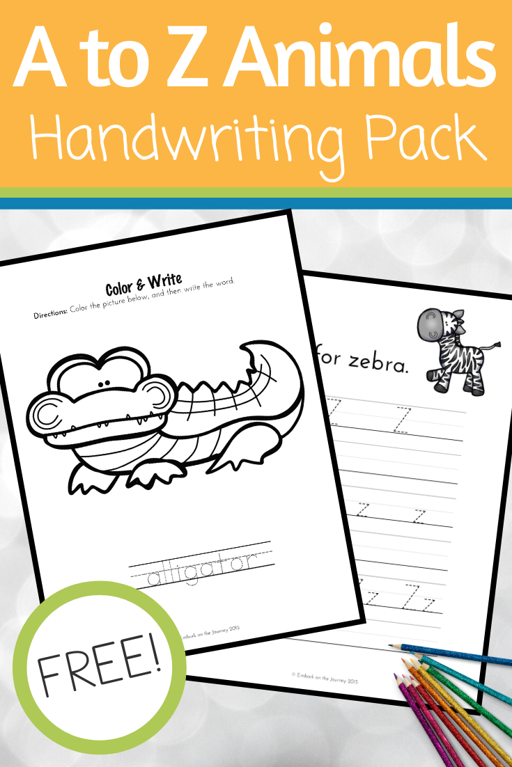 It's so much fun to practice handwriting with these A to Z animal handwriting pages! Color, trace, and write!