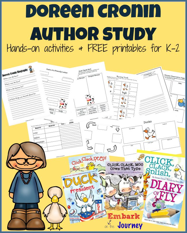From cows and chickens to worms and ducks, Doreen Cronin has published over 20 children's books. Dig in and learn a little bit about her life. Then, read your favorite stories, and have some fun! This author study is full of hands-on activities and a 30+ page FREE printable for K-2. | embarkonthejourney.com