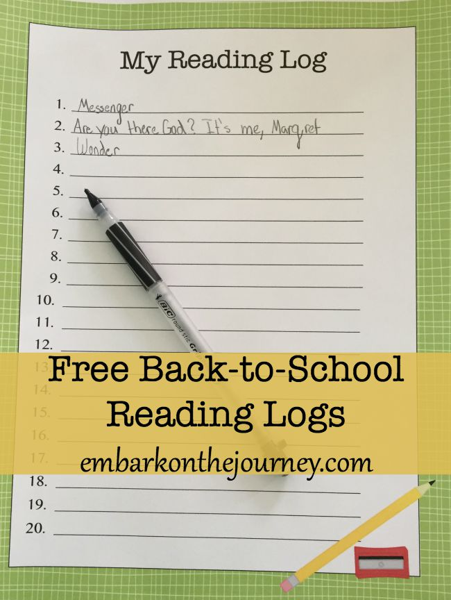 Print these back-to-school reading logs to help your kiddos track the books they're reading this month. | embarkonthejourney.com