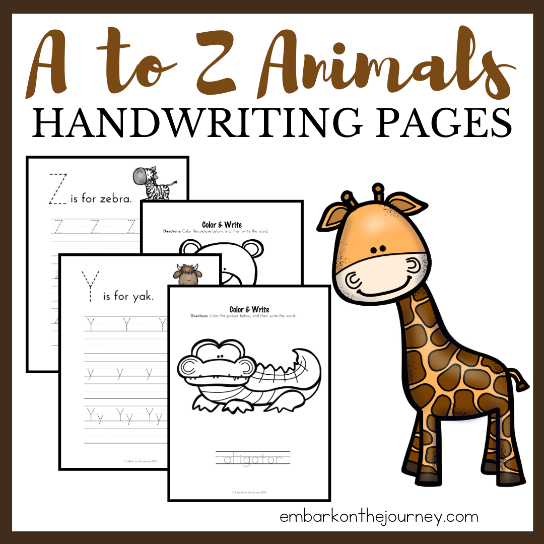A to Z Animal Handwriting Pack