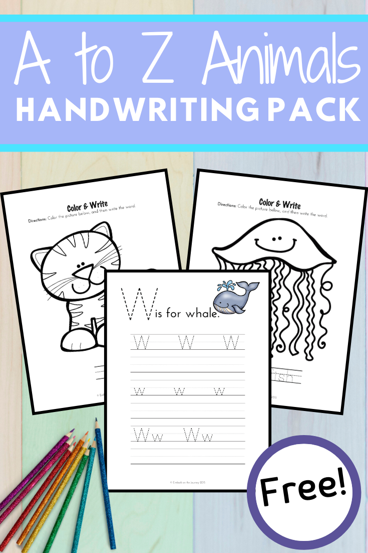 It's so much fun to practice handwriting with these A to Z Animals homeschool handwriting pages! Color, trace, and write!