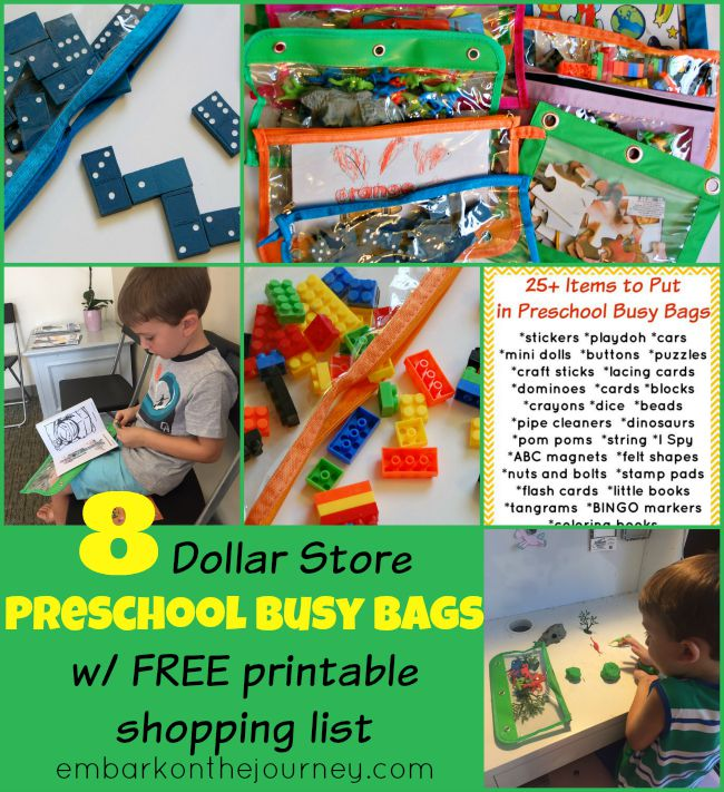 With a few items I had on-hands and a trip to the Dollar Store, I made 9 busy bags to entertain my 4yo nephew for a week-long visit! | embarkonthejourney.com