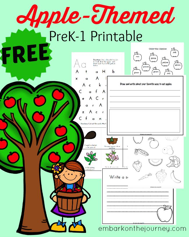 It's apple-picking time! Print out this FREE PreK-1 apple-themed printable pack, and have fun with your little ones! | embarkonthejourney.com