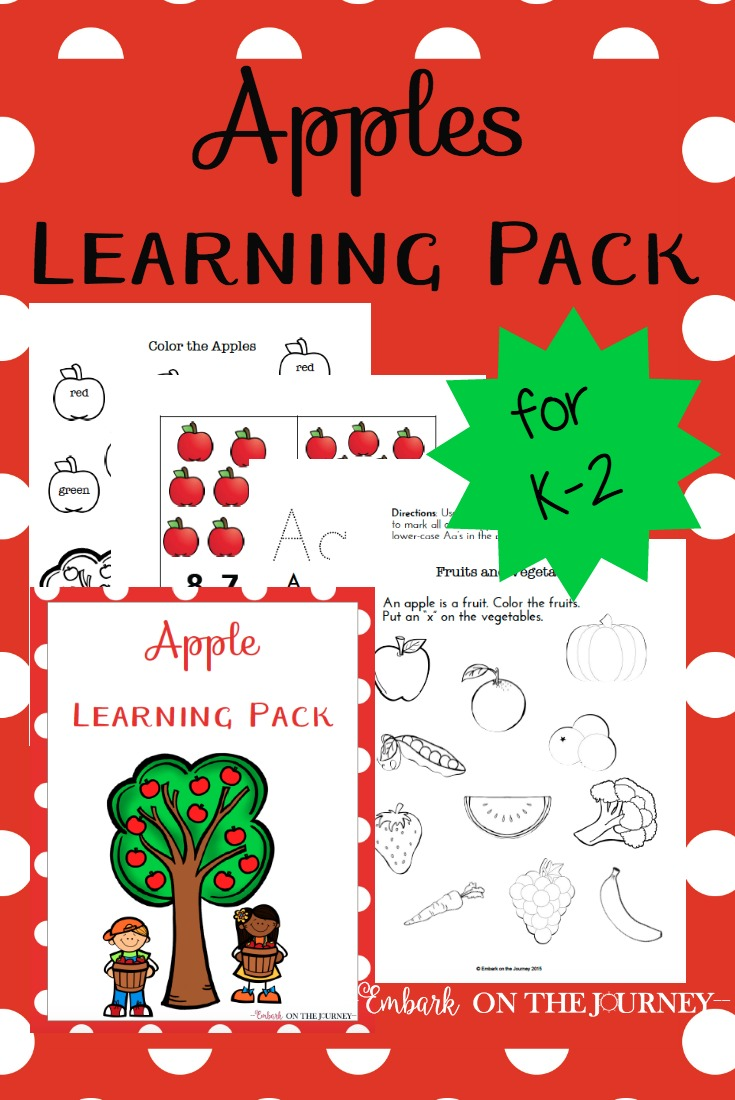 Your little ones will LOVE learning this fall with this apple-themed learning pack for kids in grades K-2! | embarkonthejourney.com