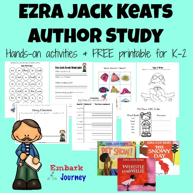 Ezra Jack Keats is a very popular children's author. Dig in and learn a little bit about his life. Then, read your favorite stories, and have some fun! This author study is full of hands-on activities and a 30+ page FREE printable for K-2. | embarkonthejourney.com