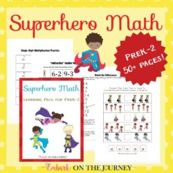 Superhero Math Printable for Grades PreK-2