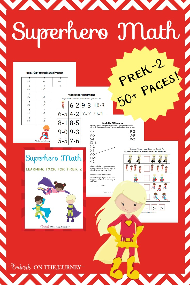 Your little learners will love this 52-page Super Hero Math freebie for grades PreK-2! | embarkonthejourney.com