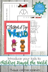 Introduce your kids to children around the world with this 76-page coloring and writing pack! | embarkonthejourney.com