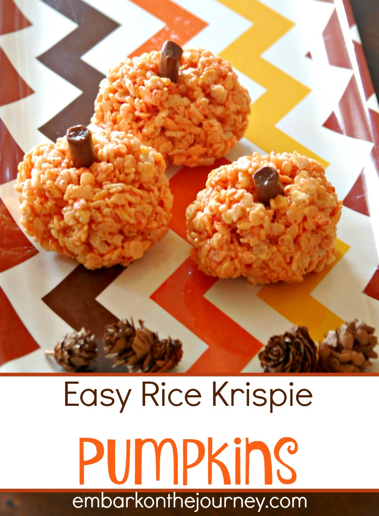 These easy rice krispie pumpkins are the perfect fall treat. Make them for your upcoming fall gatherings or just a fun afternoon treat. | embarkonthejourney.com