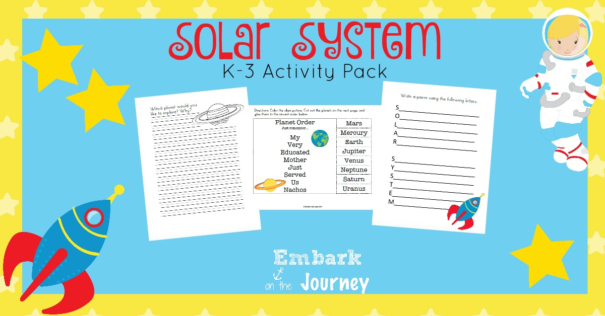 If you are planning to teach the solar system to your little ones, check out this fun activity pack for grades K-3. | embarkonthejourney.com