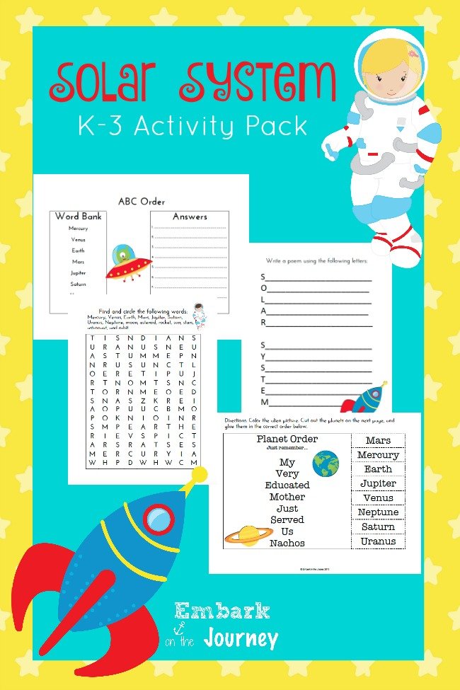 Solar System Unit Study and FREE Printable K-3 Activity Pack