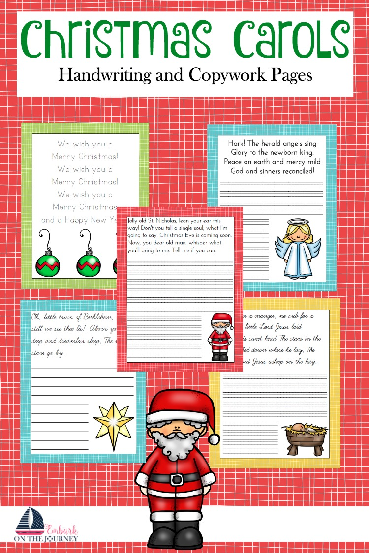 Get your kids in the holiday spirit with these free Christmas Carol copywork and handwriting pages. This pack features four popular carols with print and cursive pages. | embarkonthejourney.com