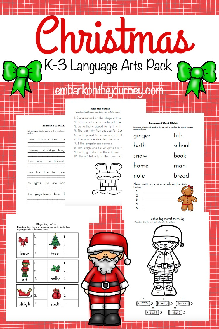 This Christmas language arts pack for K-3 is a great way to keep your kids learning through the holidays. | embarkonthejourney.com