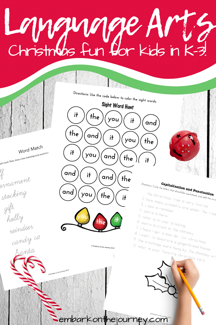 This Christmas language arts printable is a great way to keep your kindergarten and early elementary students learning through the holidays.