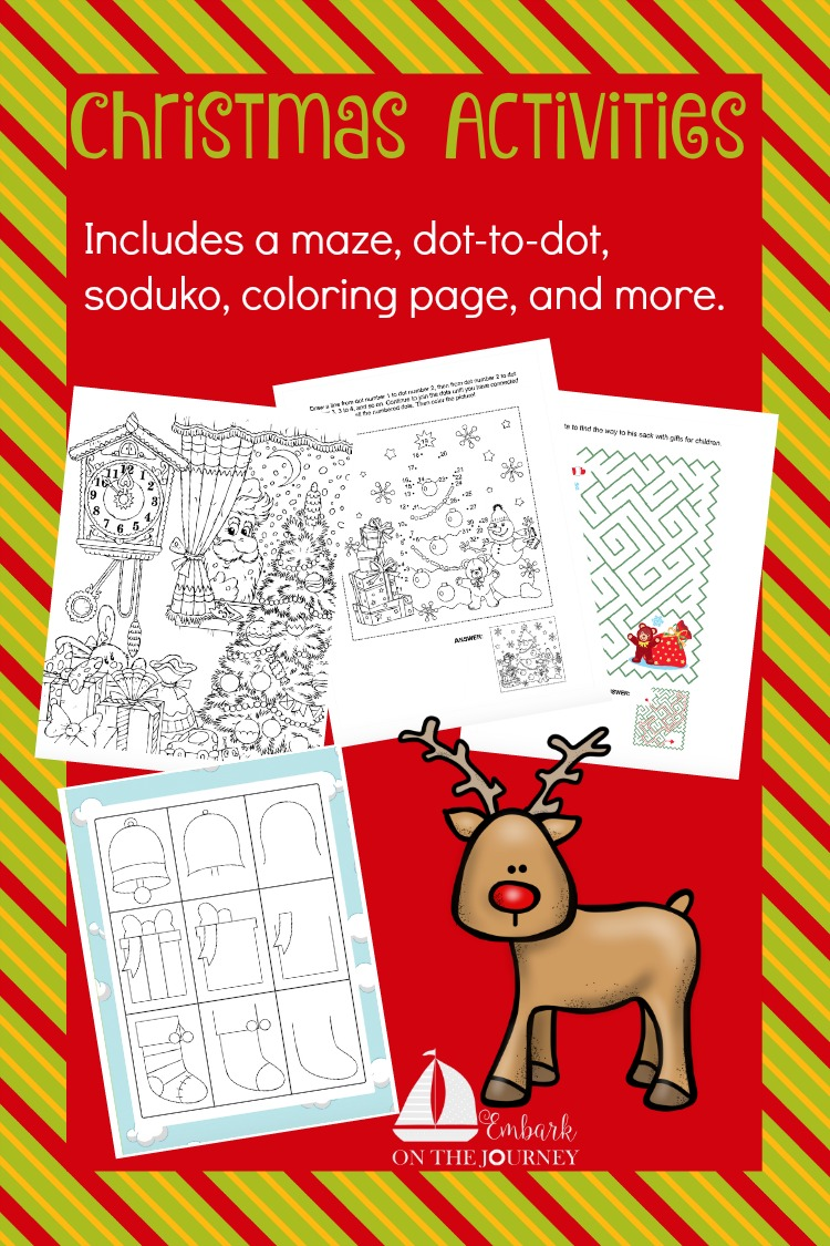 Entertain your little ones with this fun Christmas Activities printable! It includes a maze, dot-to-dot, coloring page, and more! | embarkonthejourney.com