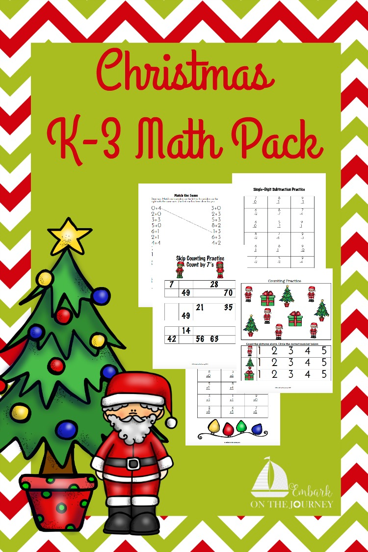 This Christmas Math Pack for your K-3 kiddos is great for your holiday homeschool studies. | embarkonthejourney.com
