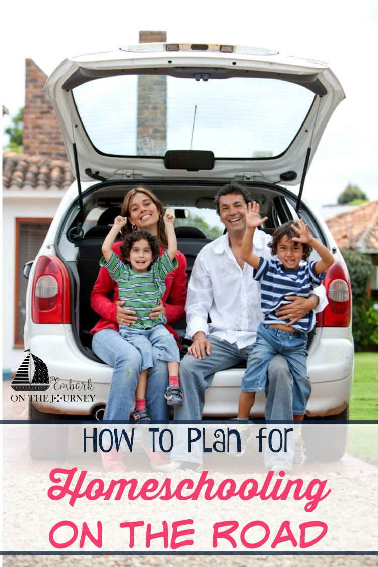 One benefit of homeschooling is the flexibility to travel when it's convenient for your family. But, you don't have to let the lessons slide while you're gone. Here are five tips to plan for homeschooling on the road. | embarkonthejourney.com