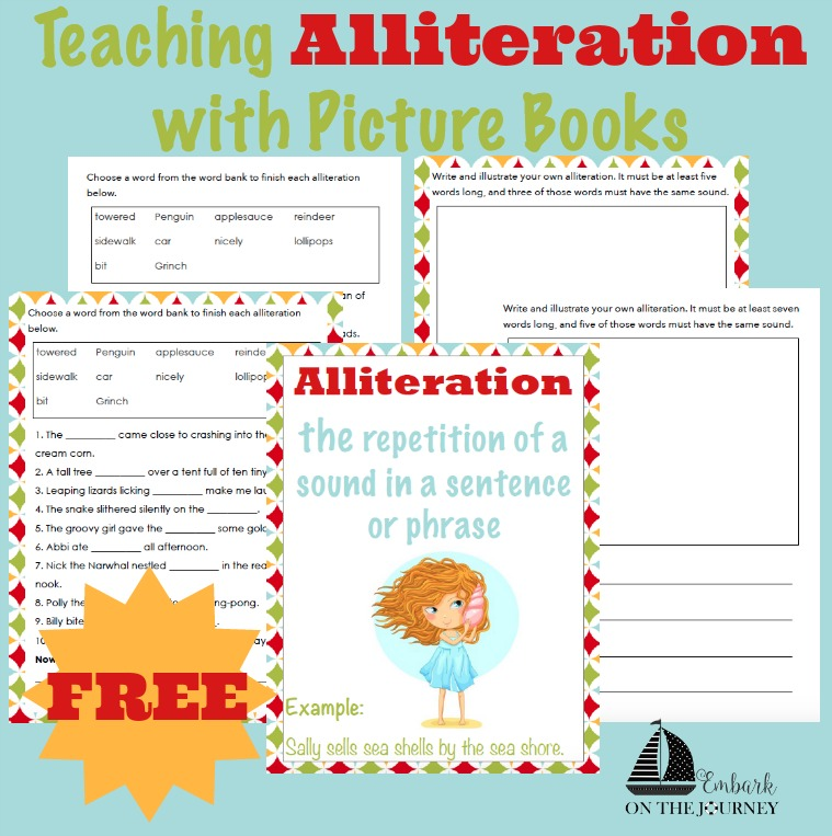 Teaching your students alliteration can be lots of fun with this book list and free printable pack. | embarkonthejourney.com